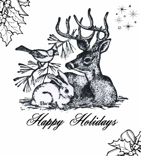Freebie Woodland Animals Holiday Digi Stamp