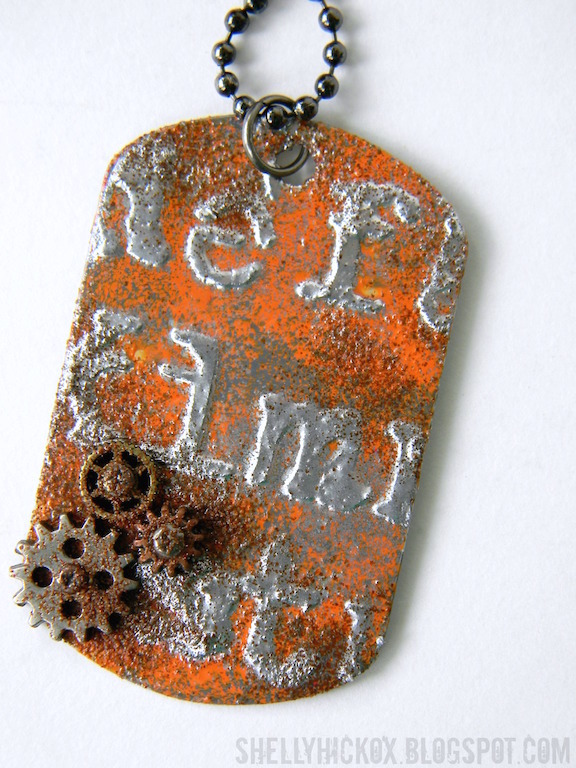 Pendant craft gossip make yourself some unique jewelry using aluminum metal flashing found at the hardware store shelley aka the stamptramp used it with a dog tag shaped die solutioingenieria Image collections